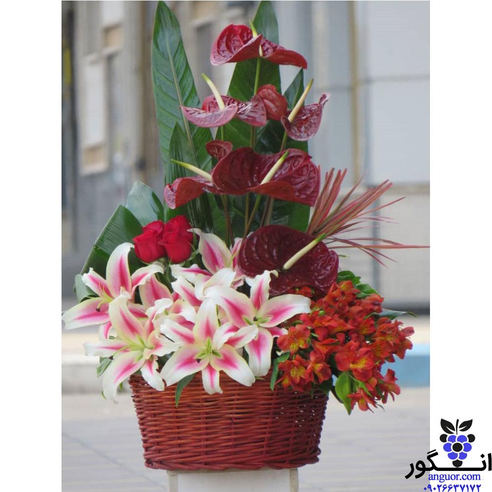 نمونه سبد گل ارسال شده برای مشتری