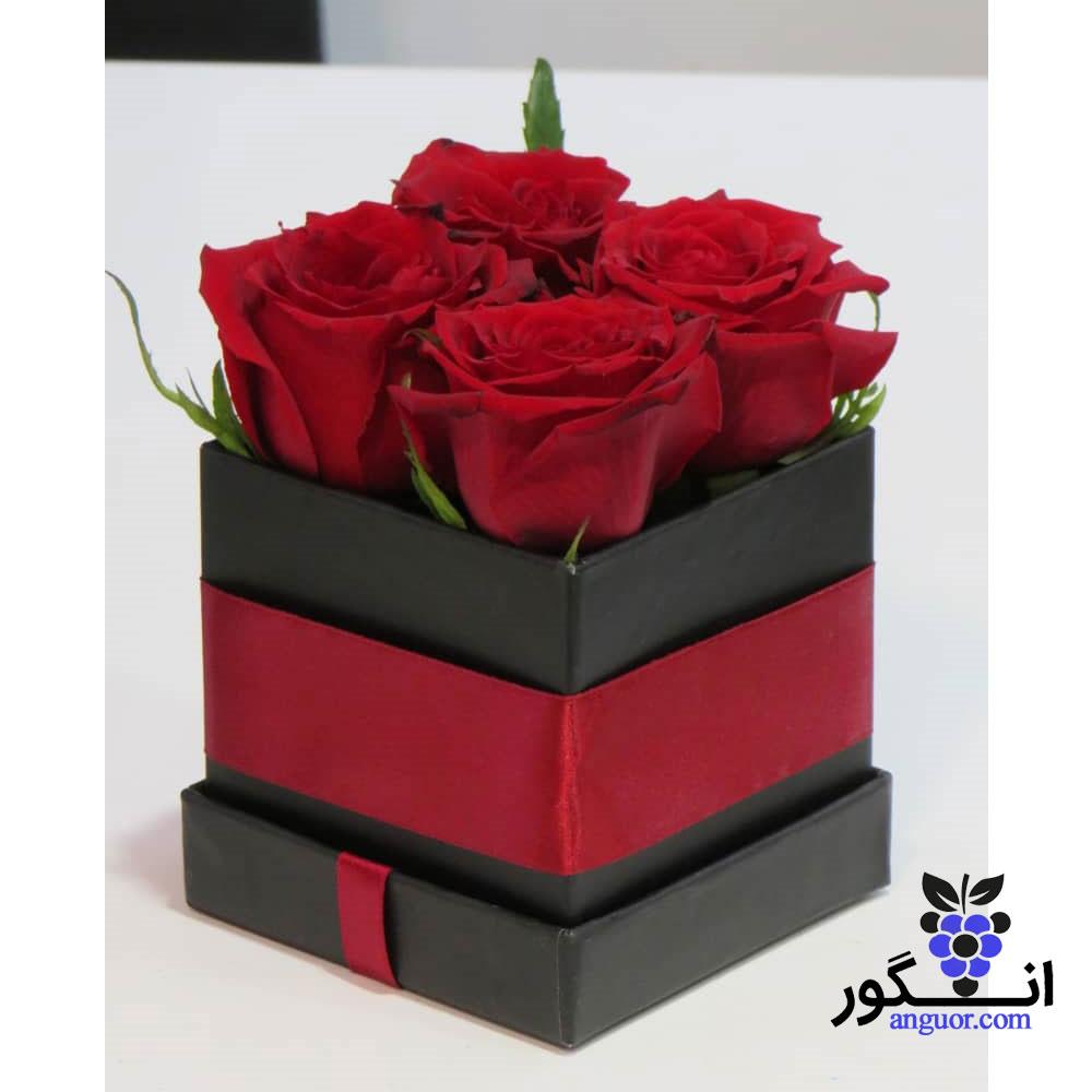 باکس گل رز قرمز کوچک